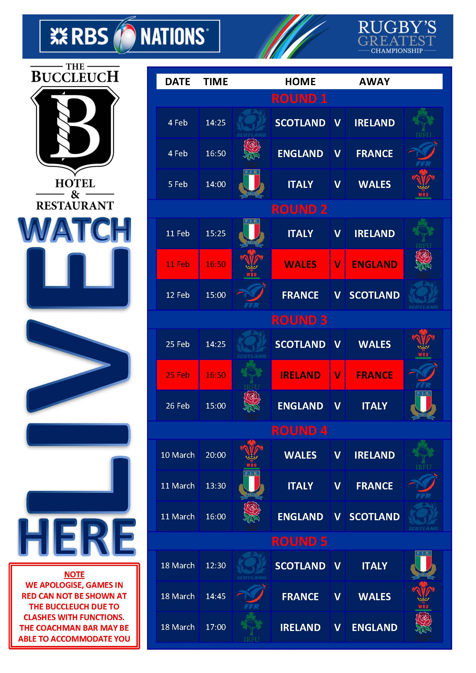 Bucc Ltd - RBS 6 Nations 2017 Fixtures